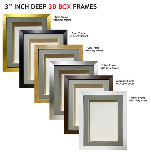 3 inch Deep Shadow 3D Box Picture Frame - Grey Mount