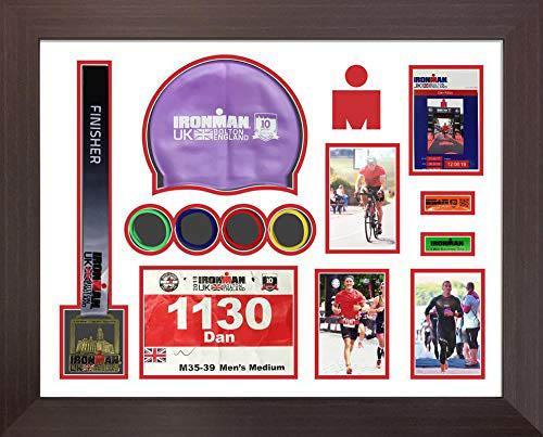 Ironman Bolton 2019 triathlon marathon, running medal swimming caps display frame