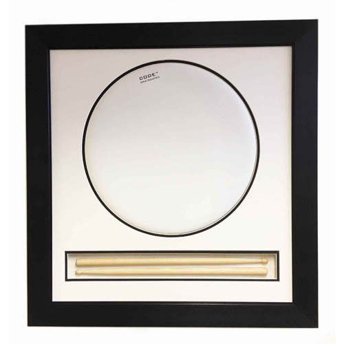 Drum Head 3D Display Frame With Drum Sticks