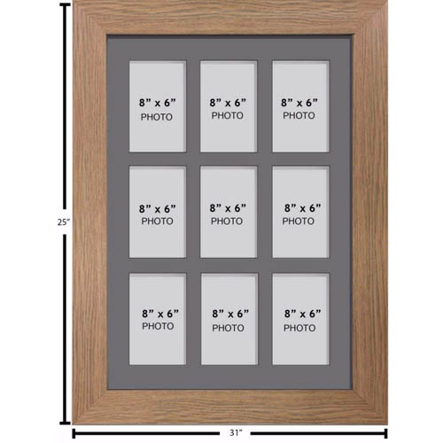 """Large Multi Picture Photo Aperture Frame 8"""" x 6"""" size with 9 openings portrait"""