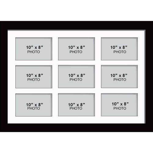 """Large Multi Picture Photo Aperture Frame 10"""" x 8"""" size with 9 openings"""