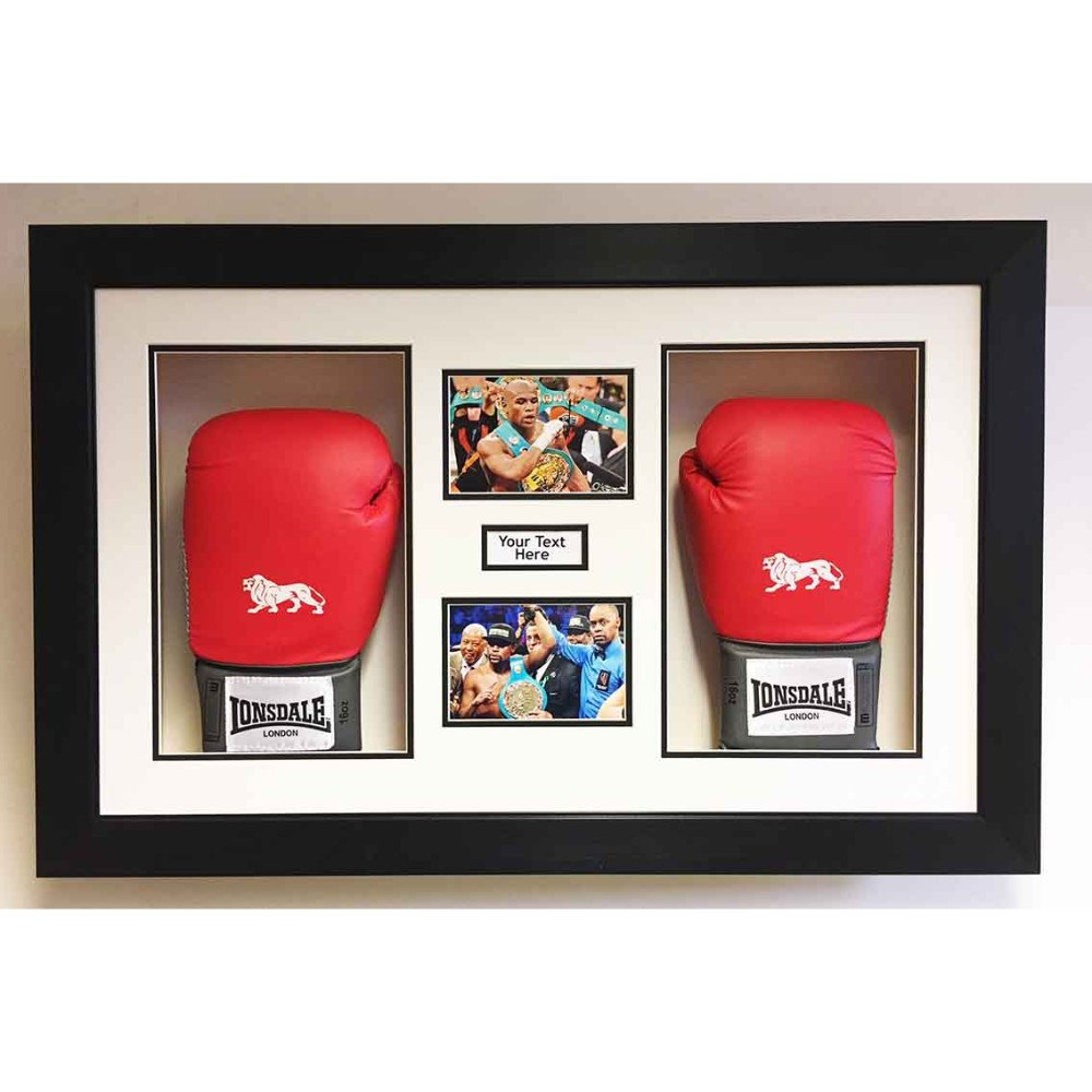 3D Box Frame Boxing Gloves Display Case For Floyd Mayweather 2x Signed Gloves With Title and 2x Photos