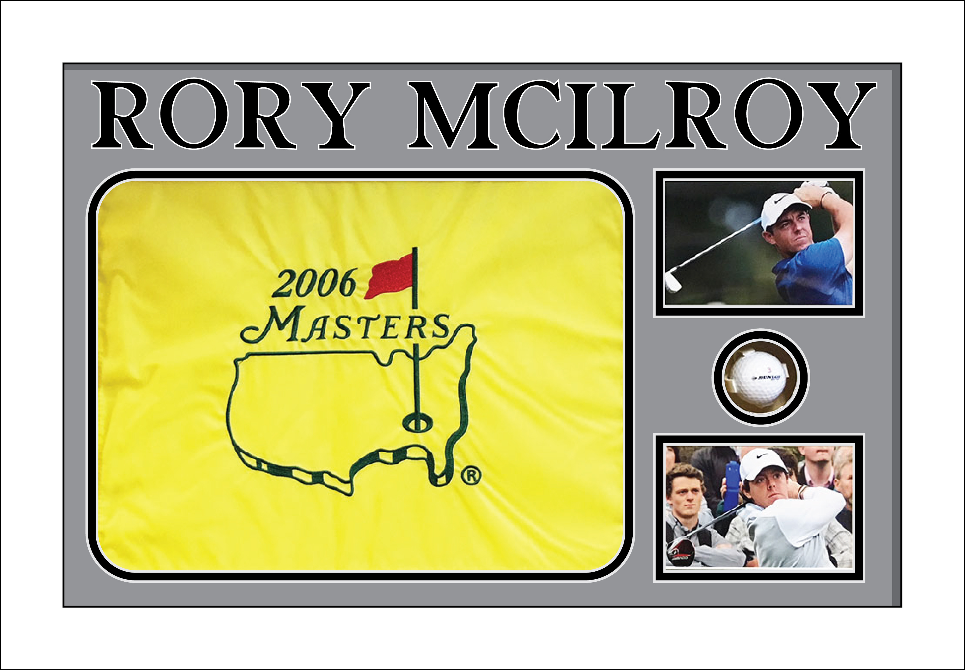 Frame for Golf Flag and Ball for Rory Mcilroy