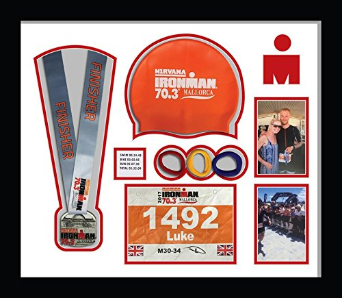 Ironman Staffordshire 70 3 triathlon marathon, running medal swimming caps display frame