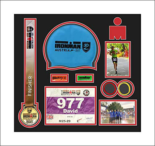 Ironman Austria triathlon marathon, running medal swimming caps display frame