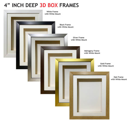 4 inch Deep Shadow 3D Box Picture Frame - White Mount
