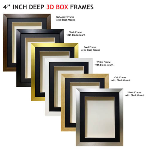 4 inch Deep Shadow 3D Box Picture Frame - Black Mount