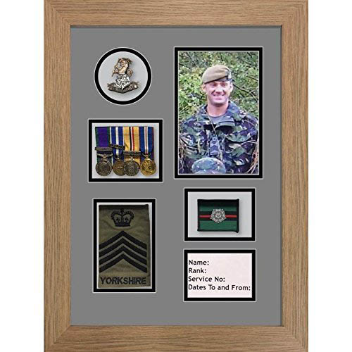 Yorkshire Regiment Medal Frame, cap badge and war medal display frame