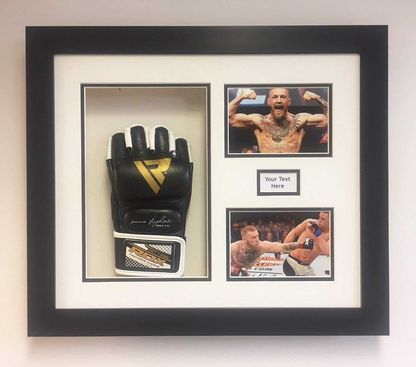 FRAME TO DISPLAY UFC, MMA GLOVE ALSO TITLE AND PHOTO