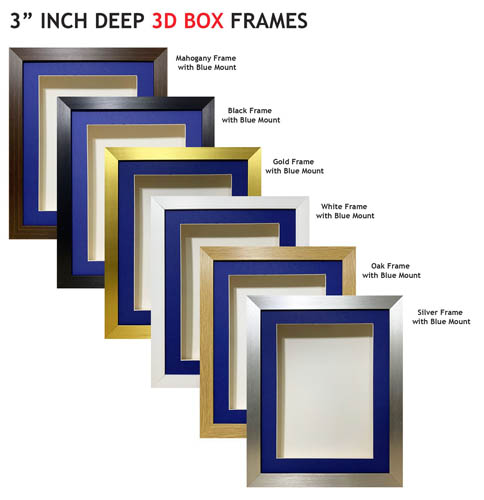 3 inch Deep Shadow 3D Box Picture Frame - Blue Mount