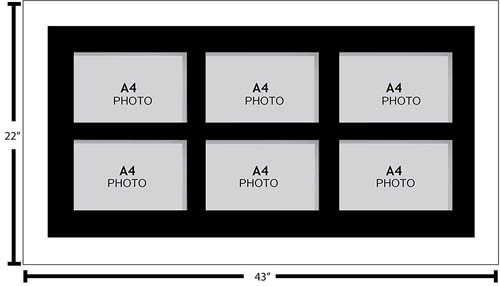 Large Multi Picture Photo Aperture Frame A4 size with 6 openings landscape