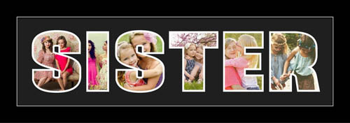 SISTER Photo Frame Personalised Name Frame. SISTER Word Photo 3D Frame For SISTER