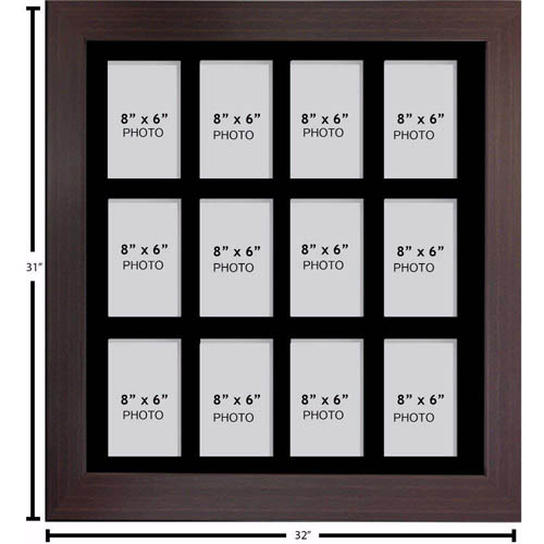 """Large Multi Picture Photo Aperture Frame 8"""" x 6"""" size with 12 openings"""