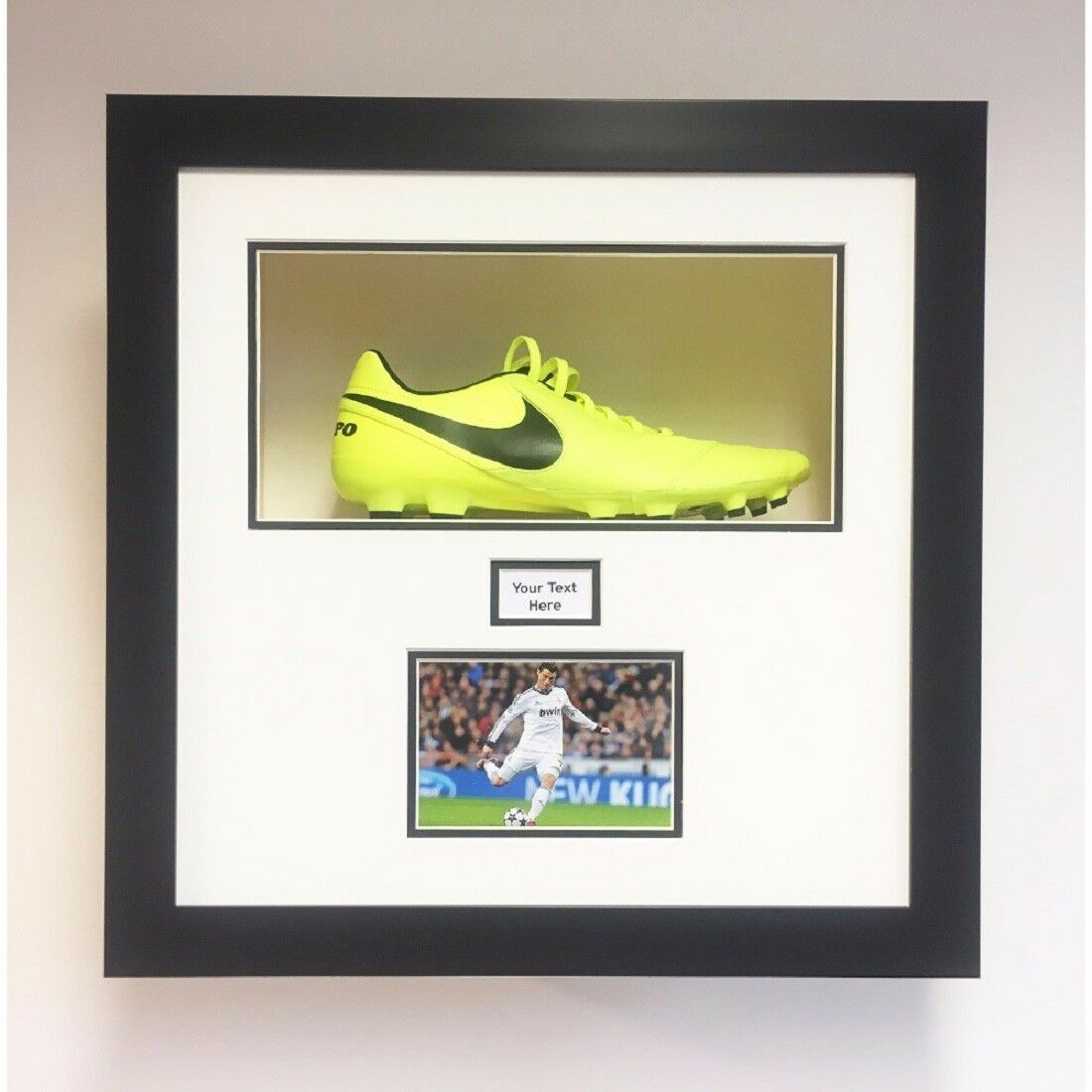 Frame Displays 1 football boot with Title and 1 Photo | White Mount Black Frame