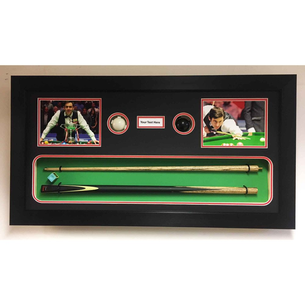 Snooker Memorabilia 3D Display Box Frame, For Snooker Cue, 2x Balls, Chalk, Signed Photo And Title