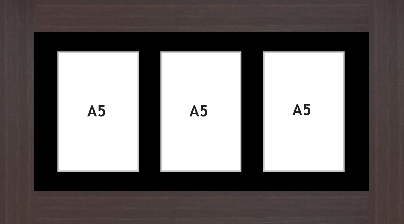Multi Aperture picture frame fits 3 A5 photos frames