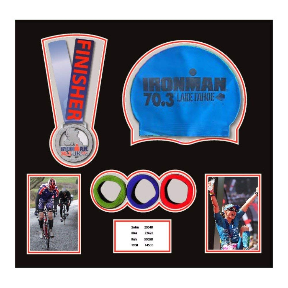 3D Frame For Ironman, Triathlon Marathon, Running Medal, Swimming Cap, Photo And Title