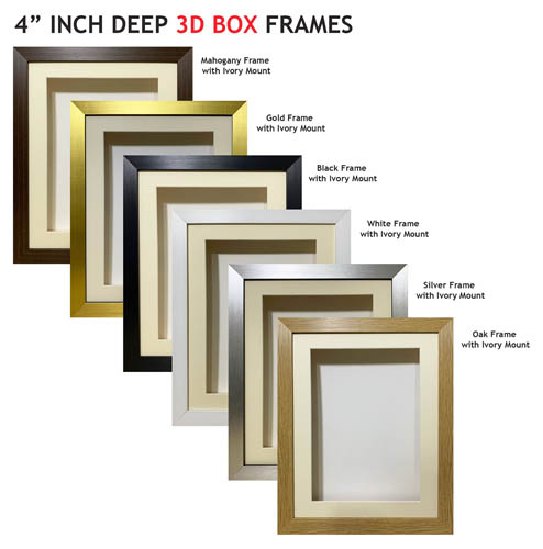 4 inch Deep Shadow 3D Box Picture Frame - Ivory Mount