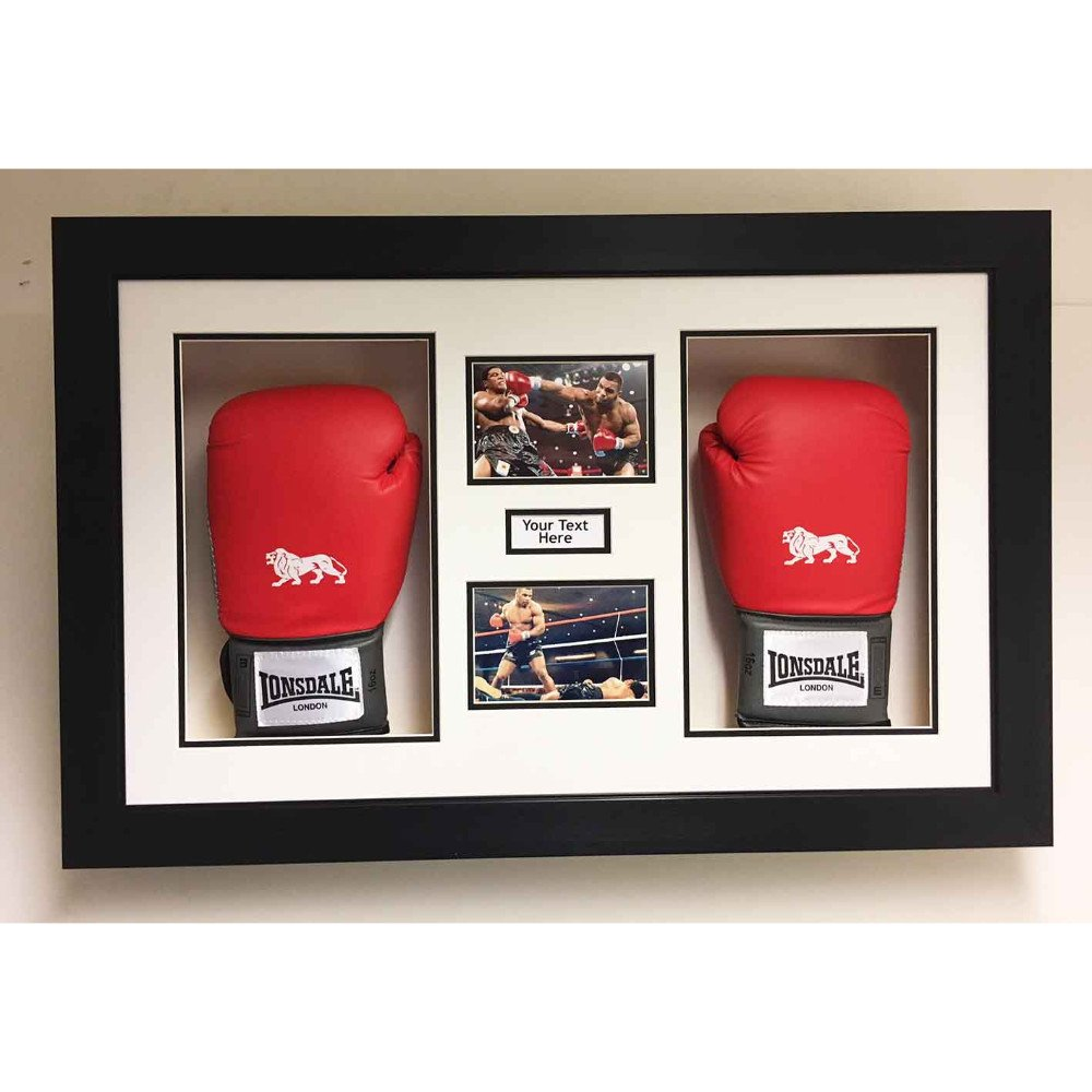 3D Box Frame Boxing Gloves Display Case For Mike Tyson 2x Signed Gloves With Title and 2x Photos