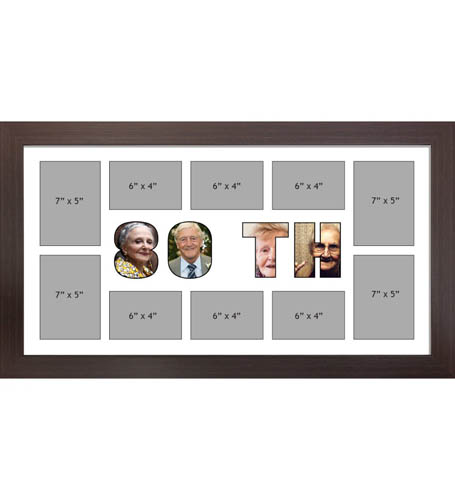 80TH Photo Frame Personalised 80TH Frame | Large Multi 80TH Word Photo 3D Frame