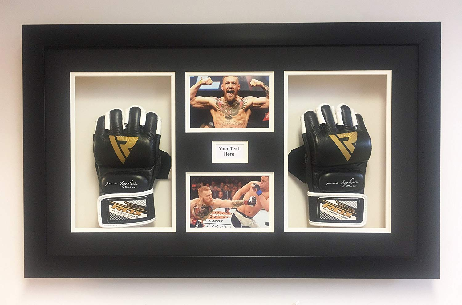 FRAME TO DISPLAY 2X UFC MMA GLOVE ALSO TITLE AND PHOTO