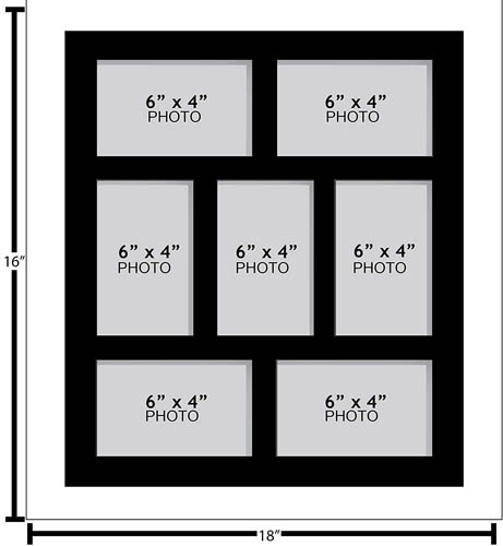 "Large Multi Picture Photo Aperture Frame, 6"" x 4"" size with 7 openings"