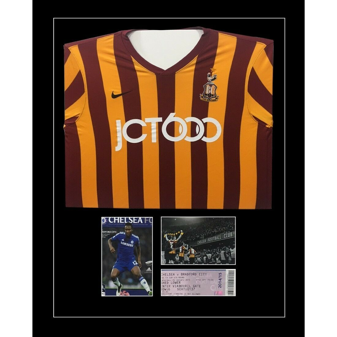 """Football Shirt Frame with Program and 1 x 6"""" x 4"""" photo and ticket"""
