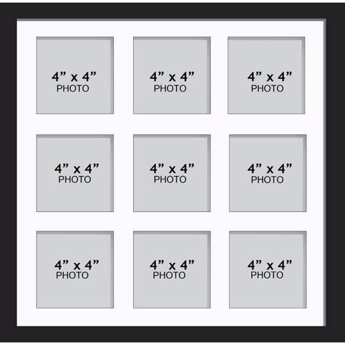 "Large Multi Picture Photo Aperture Frame 4"" x 4"" size with 9 openings"