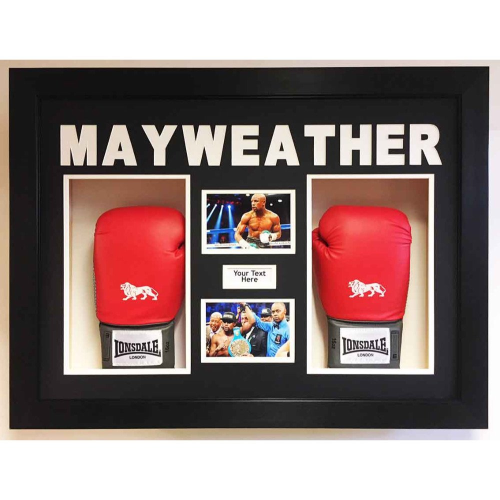 Boxing Glove Display Case for 2x Floyd Mayweather Signed Gloves with Custom 3D Text Free 2x Photo and Text included