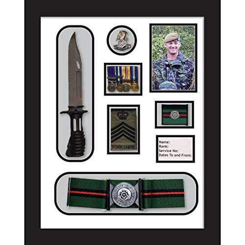 Yorkshire Regiment Medal Frame, cap badge, belt & beret cap war medal display frame