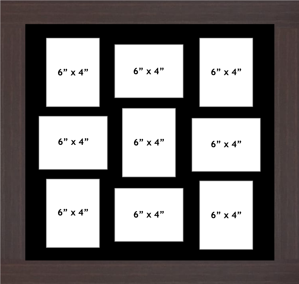 Multi Aperture Photo Frame fits 9 6x4 photos multi-picture frames