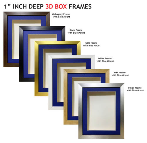 1 inch Deep Shadow 3D Box Picture Frame - Blue Mount