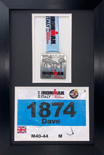 "3D Frame For Ironman, Triathlon Marathon, Running Medal And Number Badge Display Frame - 19"" x 13"""