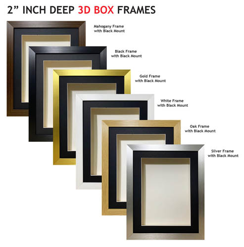 2 inch Deep Shadow 3D Box Picture Frame - Black Mount
