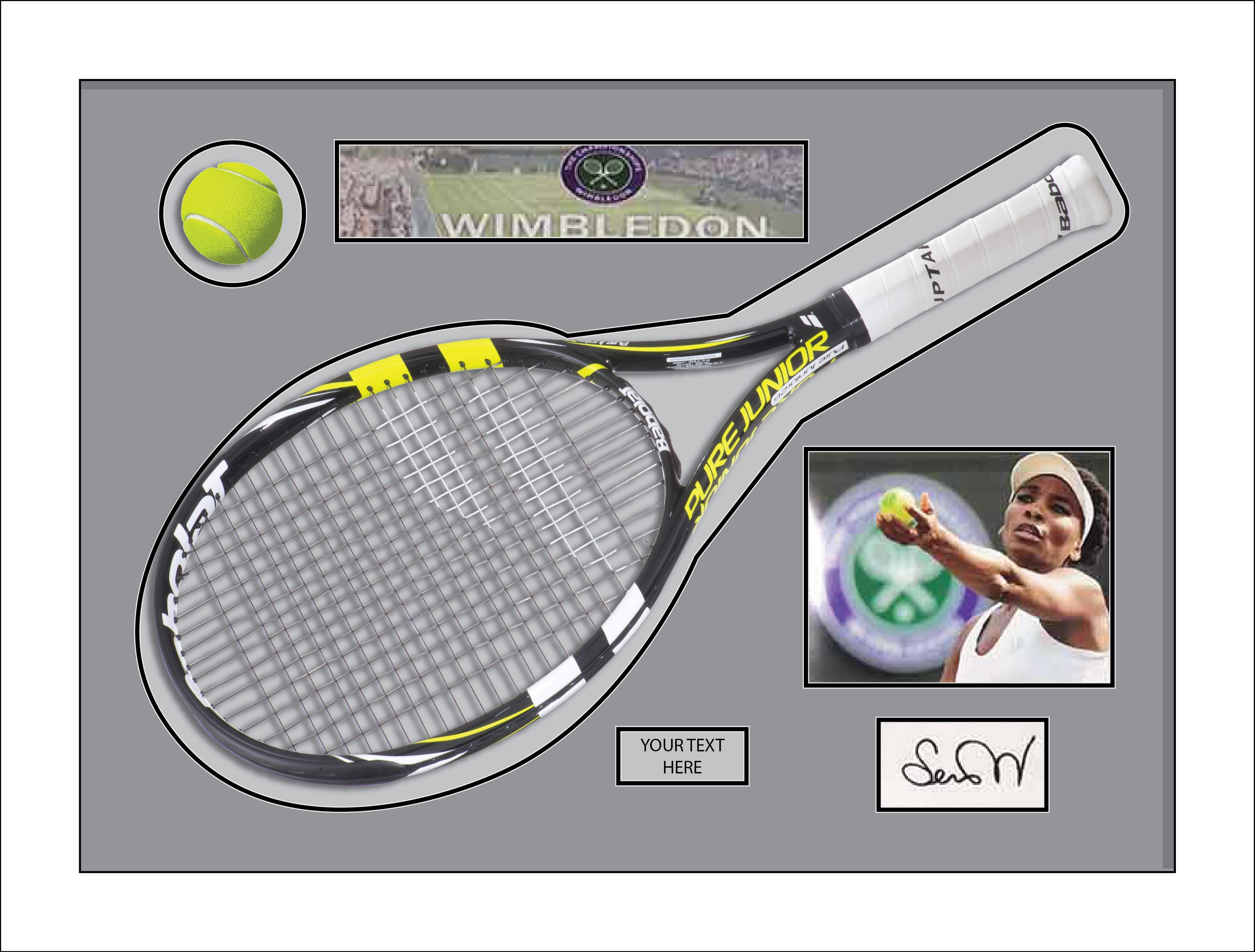 Serena Williams Tennis Memorabilia with tennis ball and bat display case