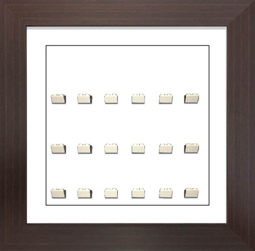Lego Minifigure Display Frame Case for Lego Minifigures in Black Backing and White Roof Slope