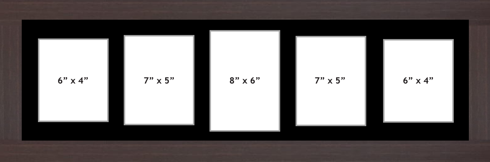 "Multi Aperture picture frame fits 5 (1 x 8""x6"", 2x7""x5"", 2x6""x4"") photos frames"
