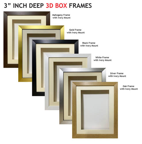 3 inch Deep Shadow 3D Box Picture Frame - Ivory Mount