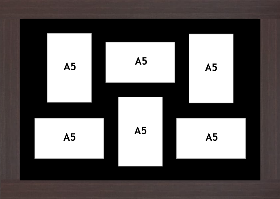 Multi Aperture picture frame fits 6 A5 photos frames