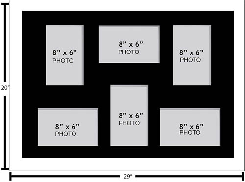 """Large Multi Picture Photo Aperture Frame 8"""" x 6"""" size with 6 openings"""