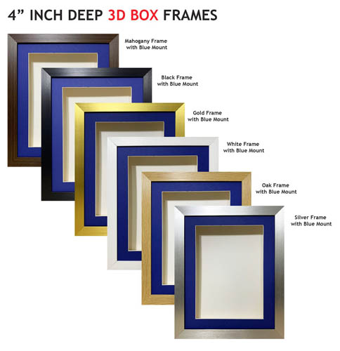 4 inch Deep Shadow 3D Box Picture Frame - Blue Mount