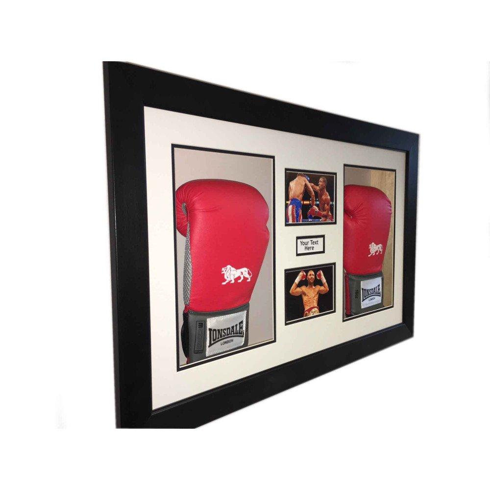 3D Box Frame Boxing Gloves Display Case For Kell Brook 2x Signed Gloves With Title and 2x Photos