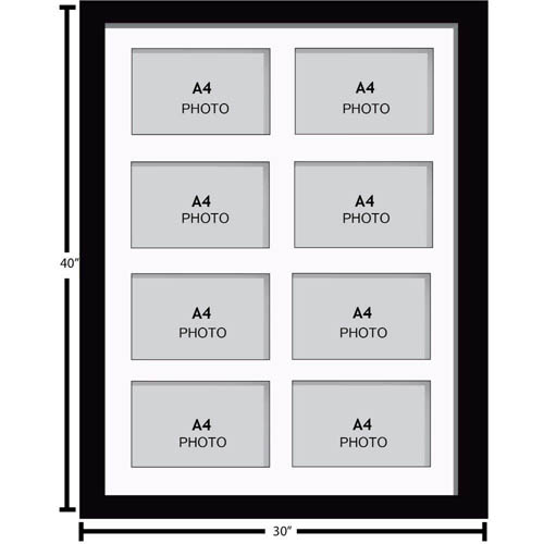 Large Multi Picture Photo Aperture Frame, A4 size with 8 openings