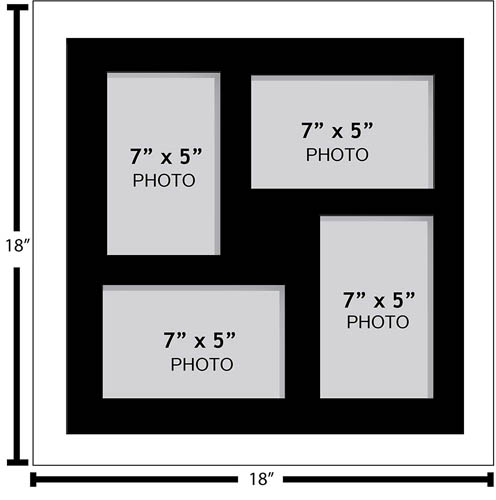 "Large Multi Picture Photo Aperture Frame, 7"" x 5"" size with 4 openings"