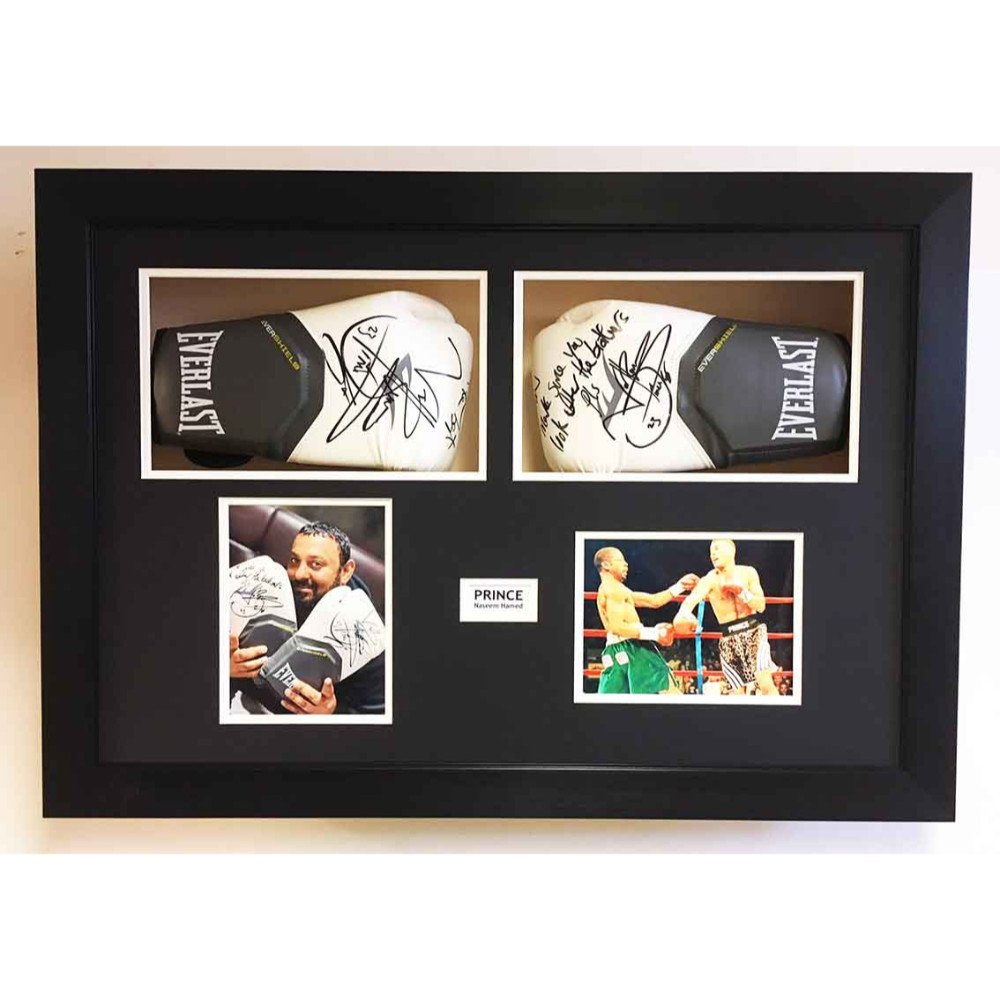 Boxing Glove Display Case 3D Frame For 2x Signed Boxing Gloves with photo and title