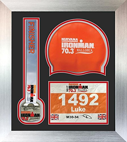 Ironman Staffordshire 70 3 triathlon marathon, running medal swimming caps display frame