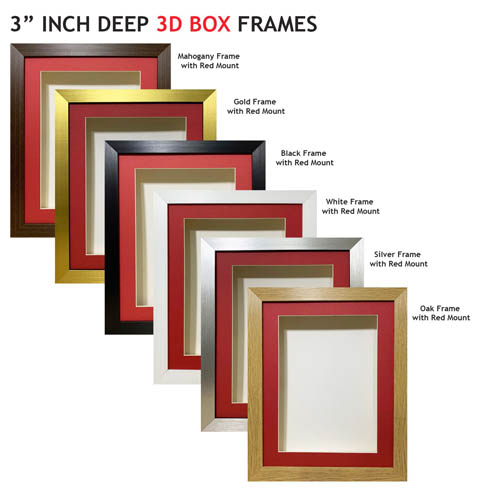3 inch Deep Shadow 3D Box Picture Frame - Red Mount