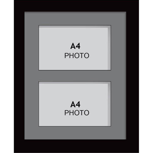 Large Multi Picture Photo Aperture Frame, a4 size with 2 openings | portrait