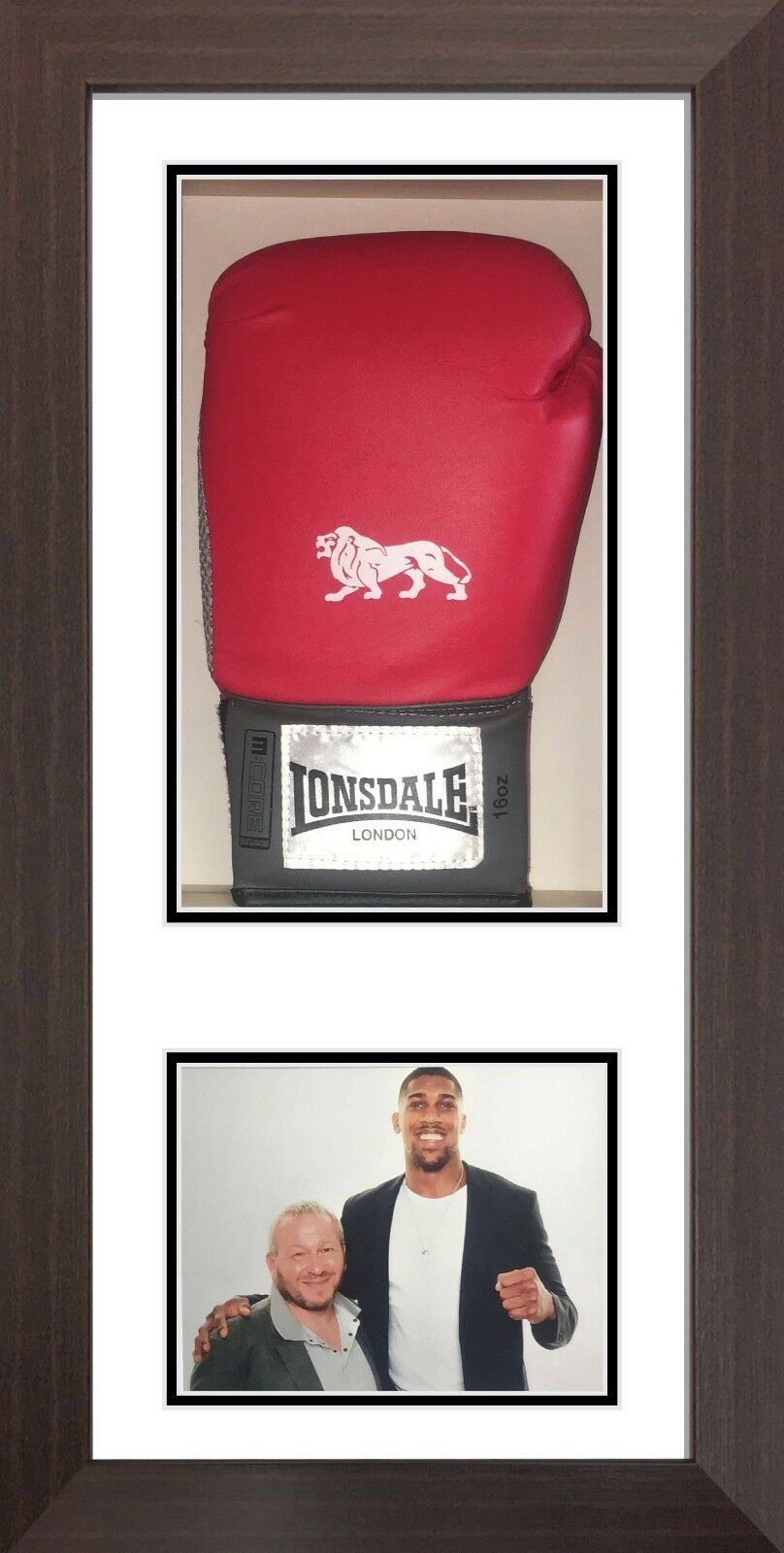 Signed boxing glove display case with photo
