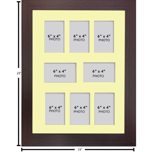 "Large Multi Picture Photo Aperture Frame, 6"" x 4"" size with 8 openings"